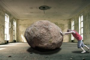 石を動かそうとがんばりすぎる人